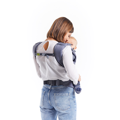 back view of mother carrying baby in boba x carrier